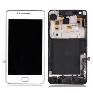 Samsung Galaxy S2 I9100 - Full front LCD Digitizer With Frame White ( Refurbished )