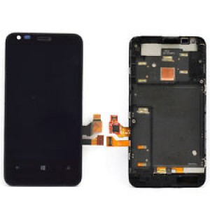 Nokia Lumia 620 - Full Front LCD Digitizer With Frame Black
