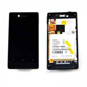 Sony Xperia Miro ST23 - Full Front LCD Digitizer With Frame Black