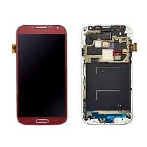 Samsung Galaxy S4 I9505 - Full Front LCD Digitizer With Frame Red ( Refurbished )