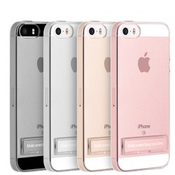 iPhone 5 / 5S / SE -  HOCO Premium Transparent Case with Metal Kickstand