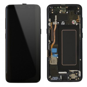 Samsung Galaxy S8 G950F - Full Front LCD Digitizer With Frame Black (Original Remaded)