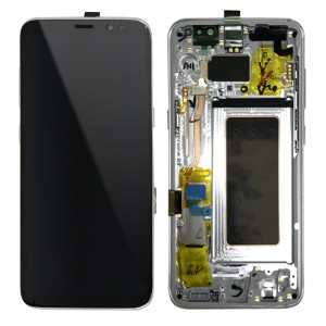 Samsung Galaxy S8 G950F - Full Front LCD Digitizer With Frame Silver (Original Remaded)