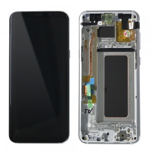 Samsung Galaxy S8 Plus G955F - Full Front LCD Digitizer With Frame Silver (Original Remaded)