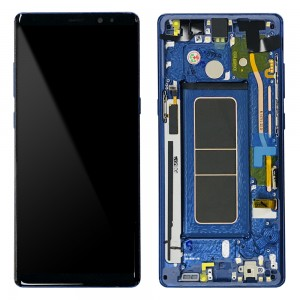 Samsung Galaxy Note 8 N950F - Full Front LCD Digitizer With Frame Blue (Original Remaded)