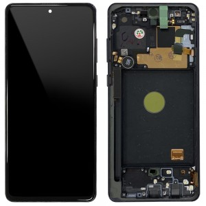 Samsung Galaxy Note 10 Lite N770 - Full Front LCD Digitizer with Frame Aura  Black < Service Pack >