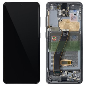 Samsung Galaxy S20 G980 / S20 5G G981 - Full Front LCD Digitizer With Frame Cosmic Grey < Service Pack >
