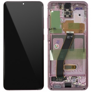 Samsung Galaxy S20 G980 / S20 5G G981 - Full Front LCD Digitizer With Frame Cloud Pink < Service Pack >