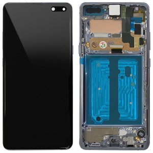 Samsung Galaxy S10 5G G977F - Full Front LCD Digitizer With Frame Crown Silver < Service Pack >