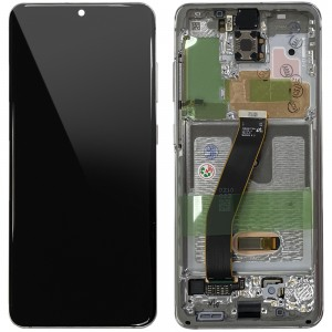 Samsung Galaxy S20 G980 / S20 5G G981F - Full Front LCD Digitizer With Frame Cloud White < Service Pack >