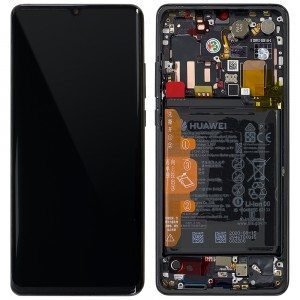 "Huawei P30 Pro - Full Front LCD Digitizer With Frame Black ""Service Pack"""