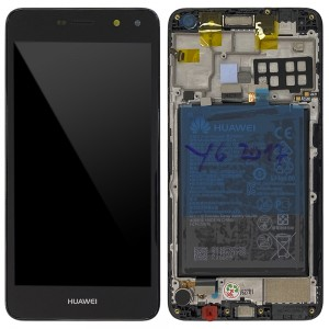 "Huawei Ascend Y6 2017 / Nova Young - Full Front LCD Digitizer with Frame Black "" Service Pack """