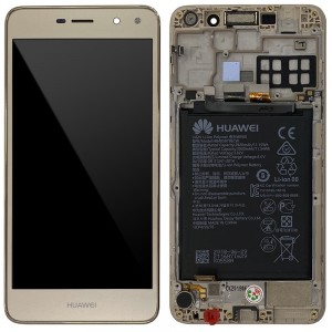 "Huawei Ascend Y6 2017 / Nova Young - Full Front LCD Digitizer with Frame Gold "" Service Pack """