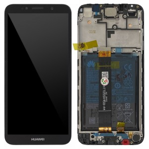 "Huawei Y5 (2018 ) / Y5 Prime (2018) - Full Front LCD Digitizer with Frame Black "" Service Pack """