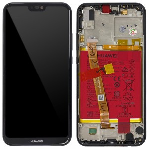 "Huawei P20 Lite - Full Front Lcd Digitizer Black With Frame & Battery ""Service Pack"""