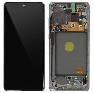 Samsung Galaxy Note 10 Lite N770 - Full Front LCD Digitizer with Frame Silver < Service Pack >