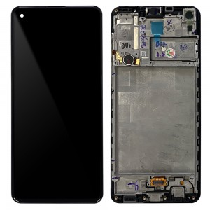 Samsung Galaxy A21S A217 - Full Front LCD Digitizer With Frame Black < Service Pack >