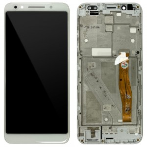 Alcate 3x (2018) - Full Front LCD Digitizer with Frame White