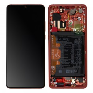 Huawei P30 Pro - Full Front LCD Digitzer Amber Sunrise (RED) with Frame & Battery < Service Pack >