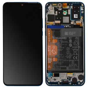 "Huawei P30 Lite New Edition - Full Front LCD Digitizer Peacock Blue with Frame & Battery ""Service Pack"""