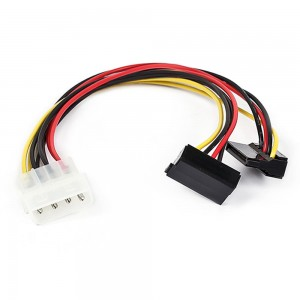 4 Pin IDE Molex Male to 2x15 Pin Serial SATA Hard Drive Y Adapter Power Cable