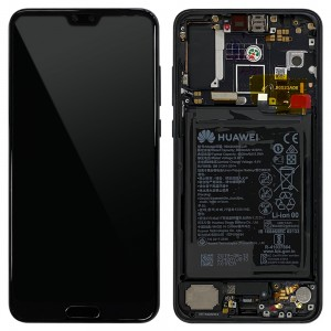 Huawei P20 Pro - Full Front Lcd Digitizer Black With Frame & Battery < Service Pack >