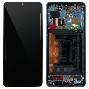 Huawei P30 Pro - Full Front LCD Digitizer With Frame Aurora with Frame & Battery < Service Pack >