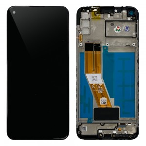Samsung Galaxy A11 A115 - Full Front LCD Digitizer With Frame Black < Service Pack >