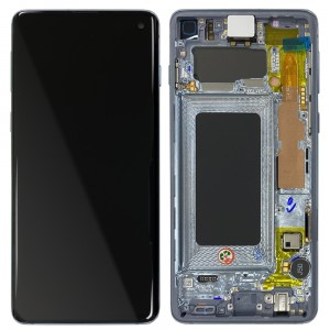 Samsung Galaxy S10 G973F - Full Front LCD Digitizer With Frame Prism Blue < Service Pack >