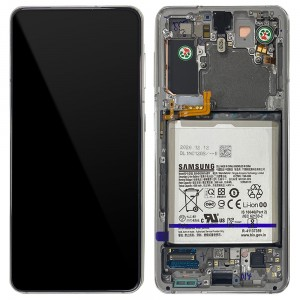 Samsung Galaxy S21 5G G991 - Full Front LCD Digitizer With Frame & Battery Phantom White < Service Pack >