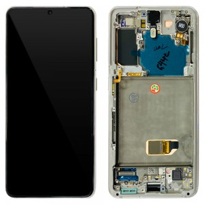 Samsung Galaxy S21 5G G991 - Full Front LCD Digitizer With Frame Phantom White < Service Pack >