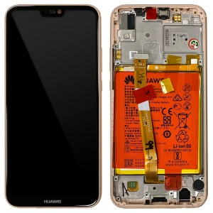 Huawei P20 Lite ANE-LX1 - Full Front LCD Digitizer Sakura Pink With Frame & Battery < Service Pack >