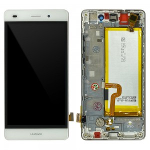 Huawei Ascend P8 Lite ALE-L21 - Full Front LCD Digitizer White with Frame & Battery < Service Pack >