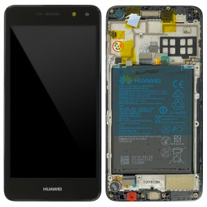 Huawei Y5 (2017) MYA-L22 - Full Front LCD Digitizer Black with Frame & Battery < Service Pack >