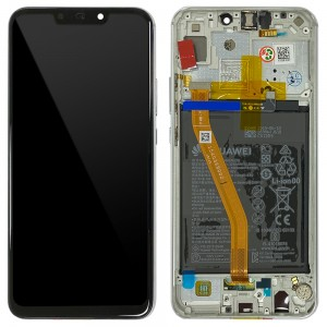 Huawei P Smart + / Nova 3i - Full Front LCD Digitizer Pearl White with Frame & Battery < Service Pack >