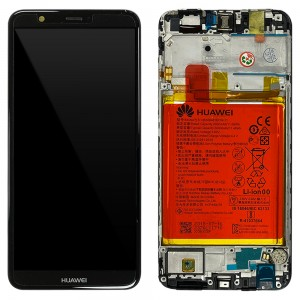 Huawei P Smart / Enjoy 7S - Full Front LCD Digitizer Black with Frame & Battery < Service Pack >