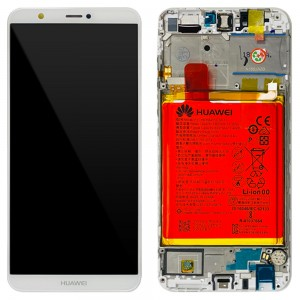 Huawei P Smart / Enjoy 7S - Full Front LCD Digitizer White with Frame & Battery < Service Pack >