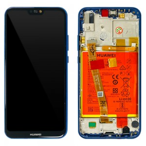Huawei P20 Lite ANE-LX1 - Full Front Lcd Digitizer Klein Blue With Frame & Battery < Service Pack >