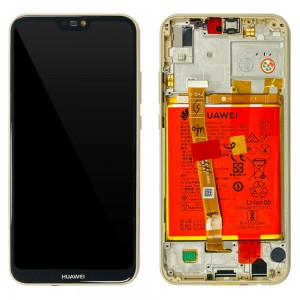 Huawei P20 Lite ANE-LX1 - Full Front Lcd Digitizer Gold With Frame & Battery < Service Pack >
