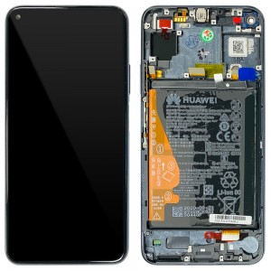 Huawei Nova 5T / Honor 20 - Full Front LCD Digitizer With Frame & Battery Midnight Black < Service Pack >