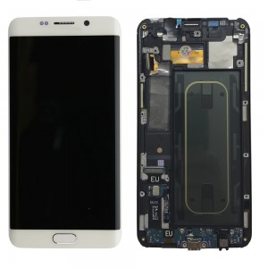 Samsung Galaxy S6 Edge Plus G928F - Full Front LCD Digitizer with frame White < Service Pack >