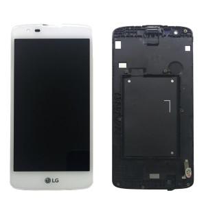 LG K8 K350N - Full Front LCD Digitizer With Frame White
