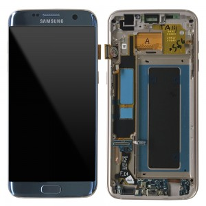 "Samsung Galaxy S7 Edge G935F - Full front LCD Digitizer Blue With Frame "" Service Pack """
