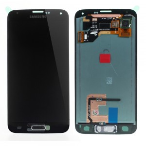 "Samsung Galaxy S5 G900F - Full Front LCD Digitizer Black "" Service Pack """