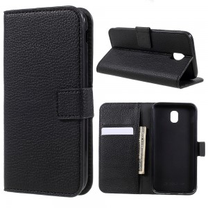Samsung Galaxy J5 2017 J530 - Litchi Grain Wallet Stand Leather Case Black