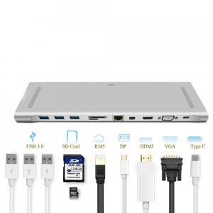 WiWU - Apollo USB Type C Multi Ports Docking 11 in 1 Hub Silver