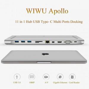WiWU - Apollo USB Type C Multi Ports Docking 11 in 1 Hub Grey