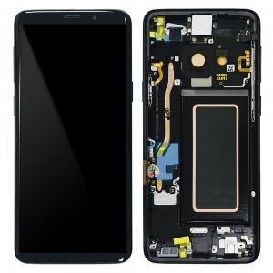 "Samsung Galaxy S9 G960F - Full Front LCD Digitizer With Frame Black "" Service Pack """