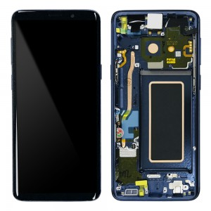 "Samsung Galaxy S9 G960F - Full Front LCD Digitizer With Frame Blue "" Service Pack """