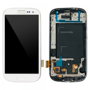 Samsung Galaxy S3 Neo i9300i - Full front LCD Digitizer With Frame White ( Refurbished )